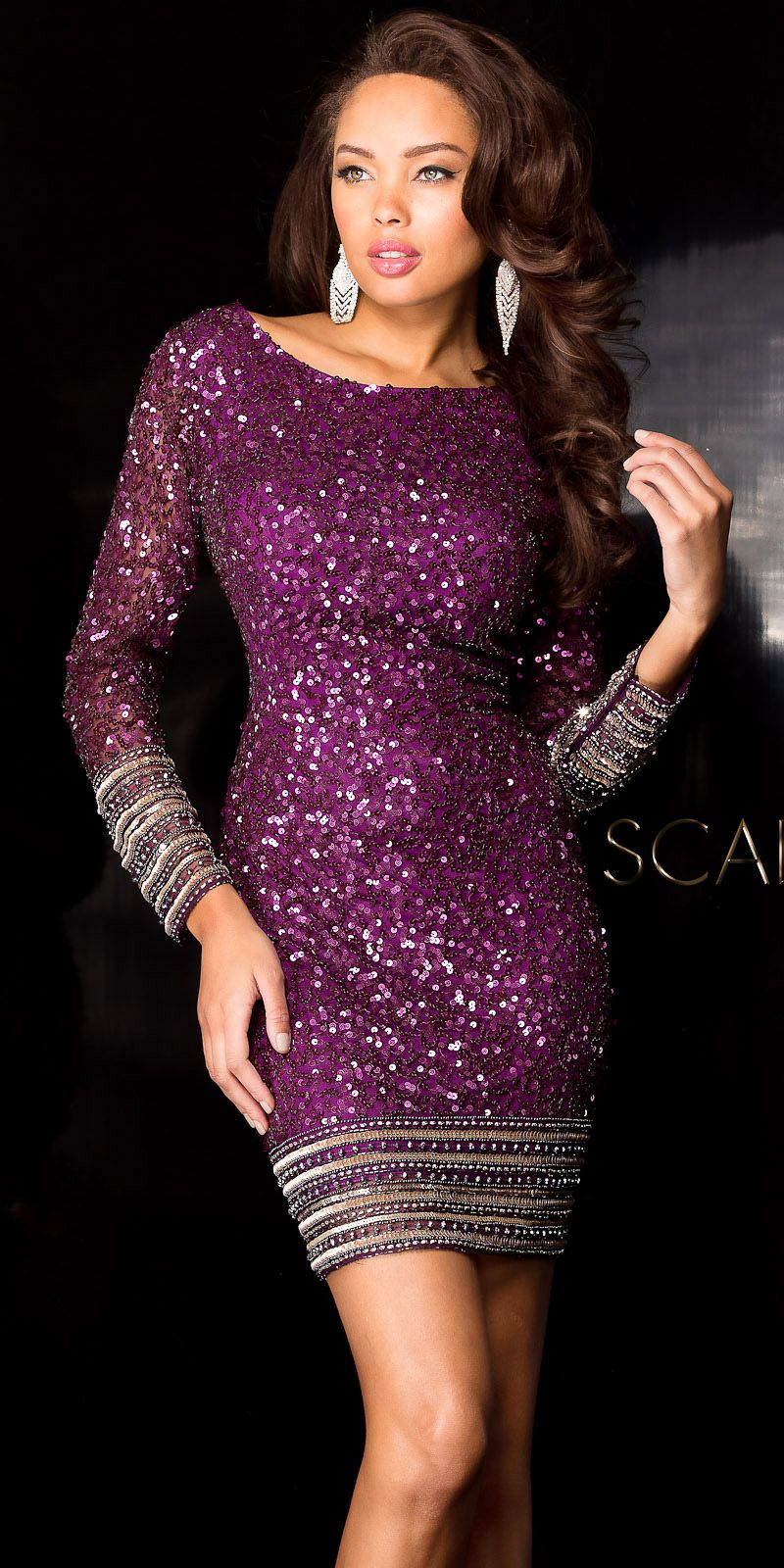 Scattered Sequin Cocktail Dress by Scala #edressme | night dress ...