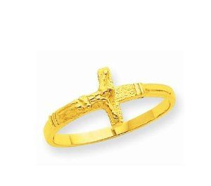 14k Solid Yellow Gold Baby Cross Crucifix Ring Children's . $59.00. Free Shipping within USA via USPS First Class. 30 day Money back guarantee. 14k Solid yellow Gold Baby Cross Crucifix Ring Children's. SIZE: 3.5. Save 61% Off!