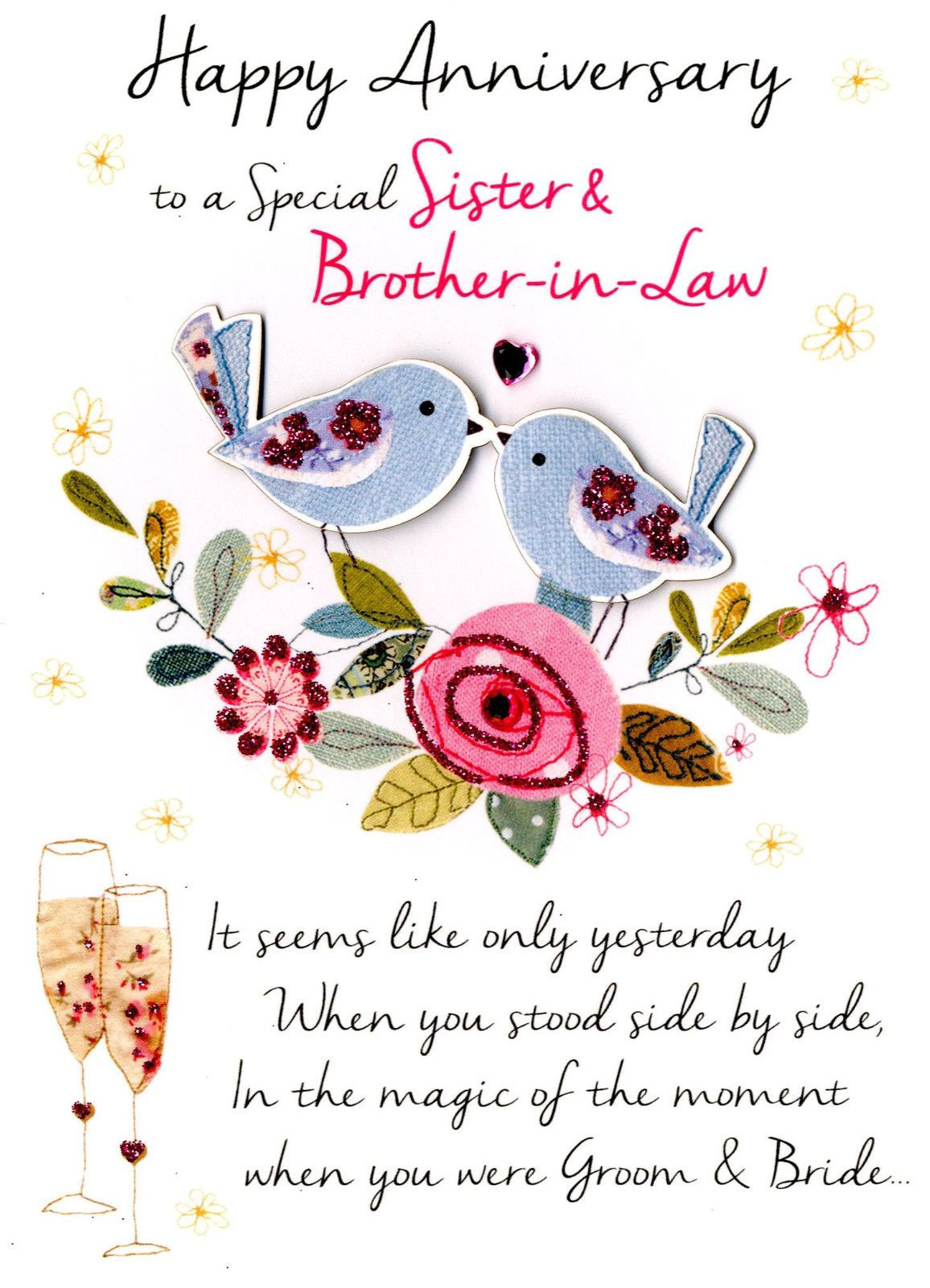 2 99 Gbp Sister Brother In Law Anniversary Greeting Card Second Anniversary Wishes For Sister Wedding Anniversary Wishes Happy Wedding Anniversary Wishes