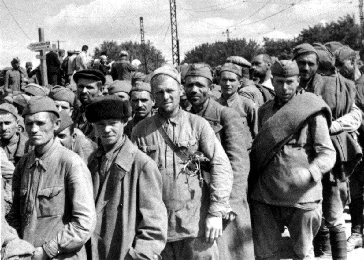 Soviet POWs arrive at Stalag VIII F prisoner of war camp Opened in July 1941, it was initially