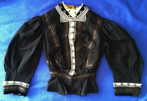 Black and white victorian Mourning Blouse (front), from RENDIGS LOTHMAN CO, Wool Silk