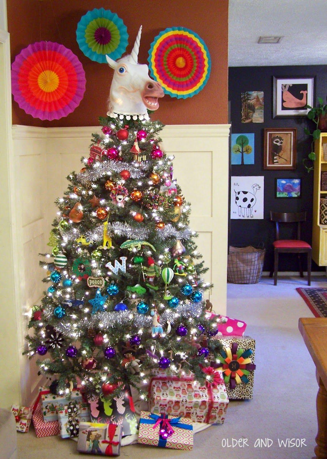 Older And Wisor Funny Christmas Tree Rainbows Christmas Colorful Christmas Tree