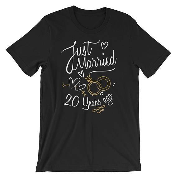 38 Year Wedding Anniversary Gift: Wedding Anniversary Gift Just Married 20 Years Ago T-Shirt