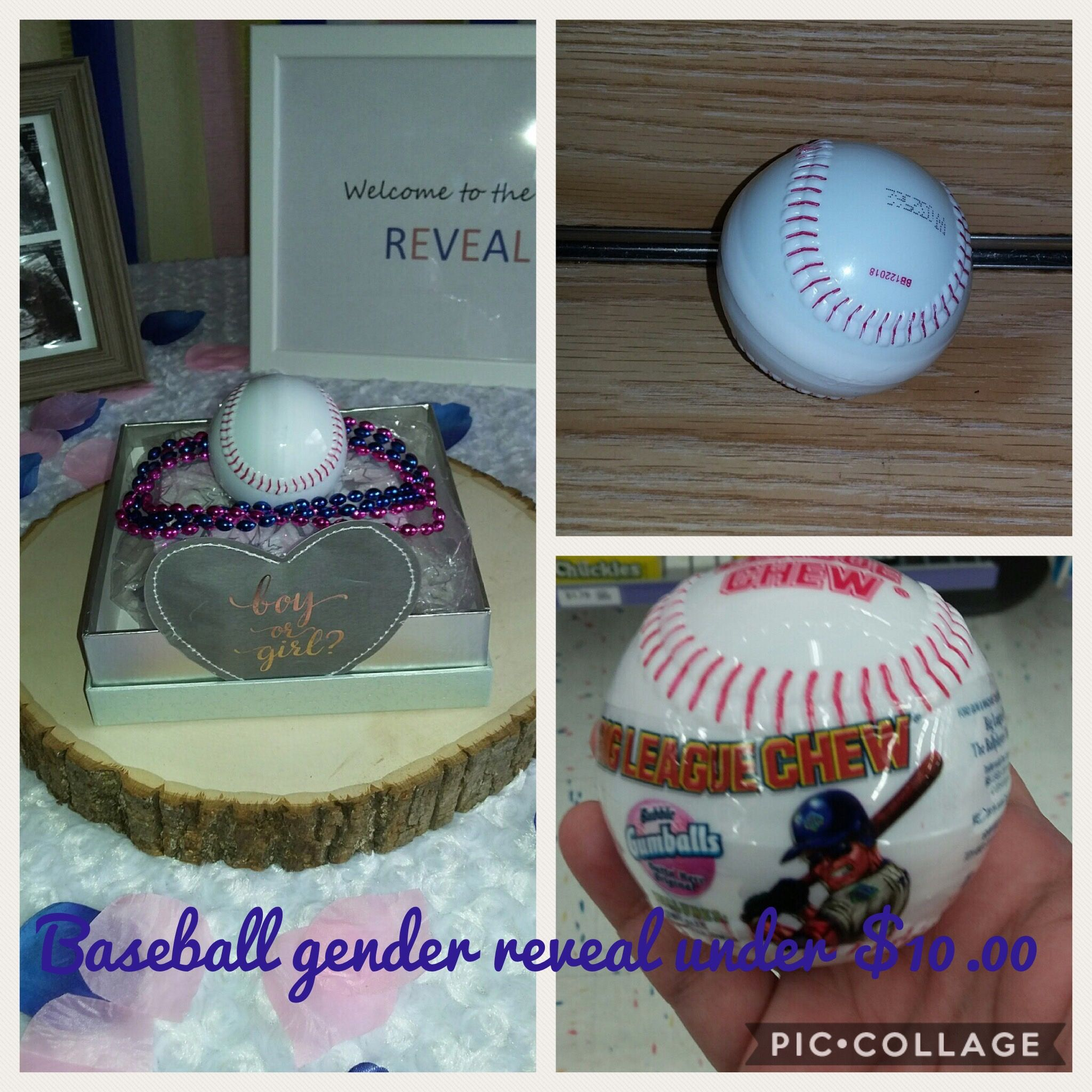 Diy Baseball Gender Reveal Under 10 00 I Bought The Baseball In The Candy Section At Party City F Baseball Gender Reveal Gender Reveal Party Reveal Parties