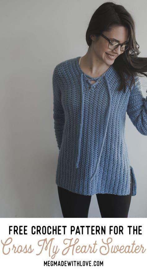 Free Crochet Pattern for the Cross My Heart Sweater #sweatercrochetpattern