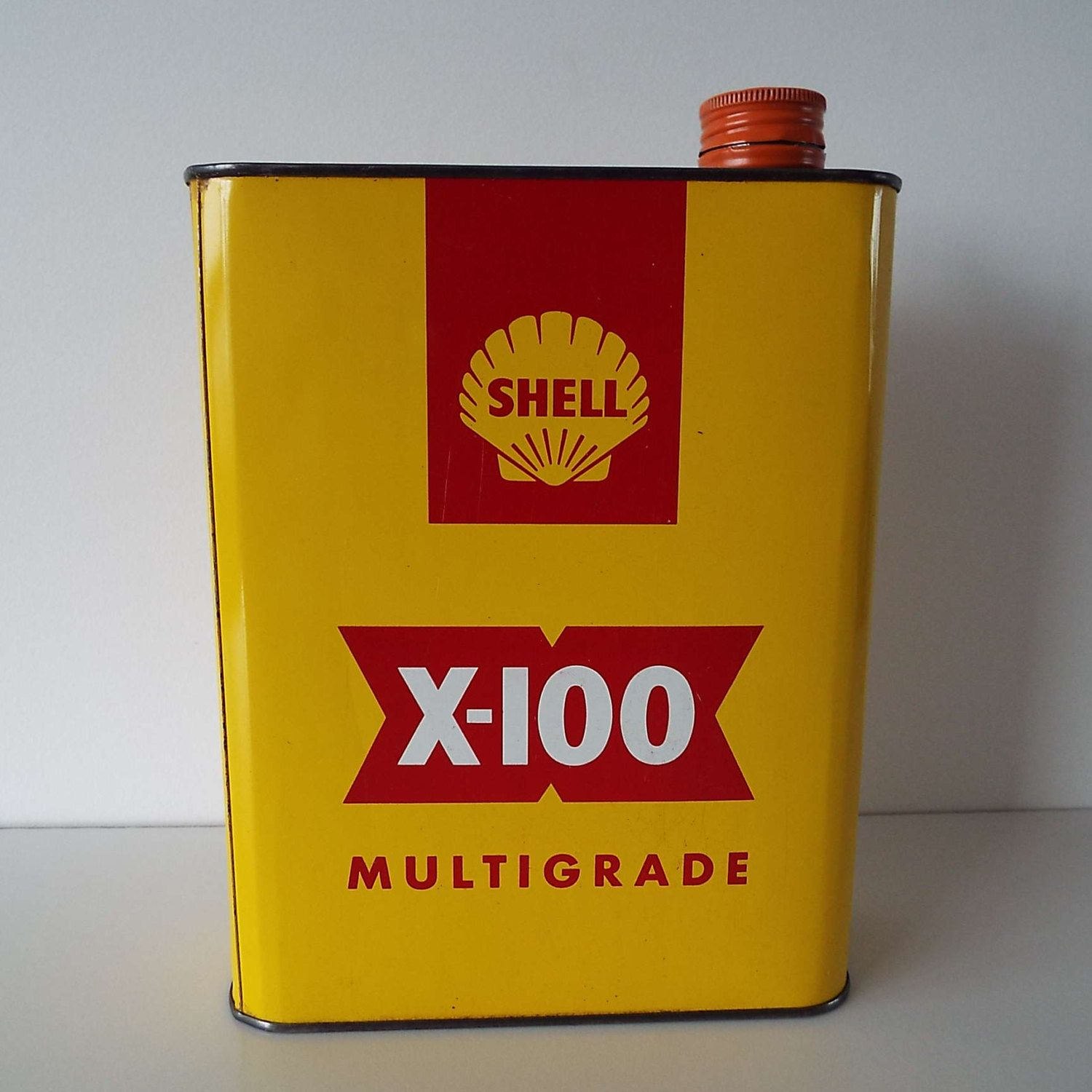 Rare Vintage 1960's Shell X-100 Motor Oil Can Vintage Oil