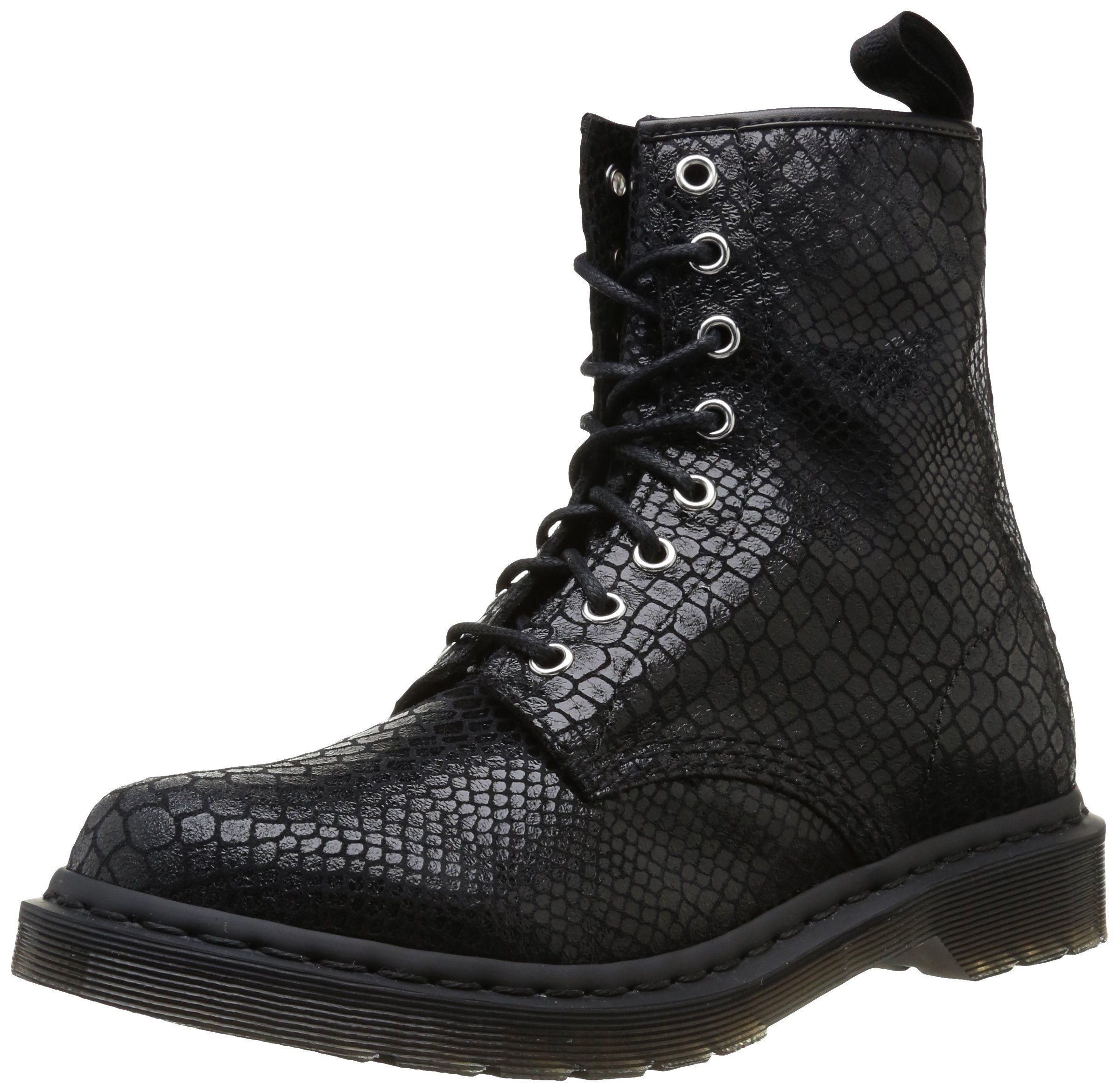 Dr. Martens 1460 W, Boots femme - Noir (Black Hi Shine Snake)