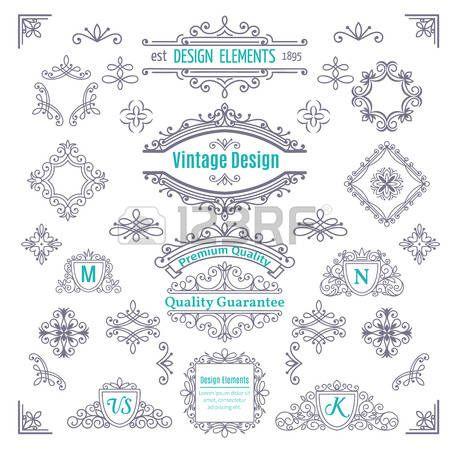 Set of Vintage Vector Line Art Calligraphic Elements . Decorative Dividers,  Borders, Swirls,