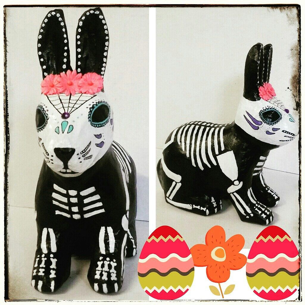 Day of the Dead Rabbit, Skelly bunny decor for Easter or