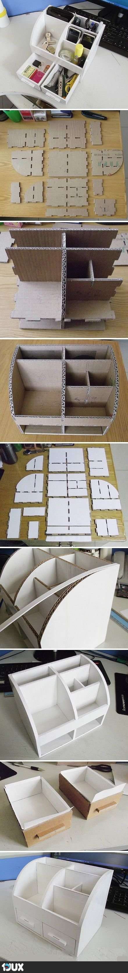 tisch organizer aus pappe diy pinterest. Black Bedroom Furniture Sets. Home Design Ideas