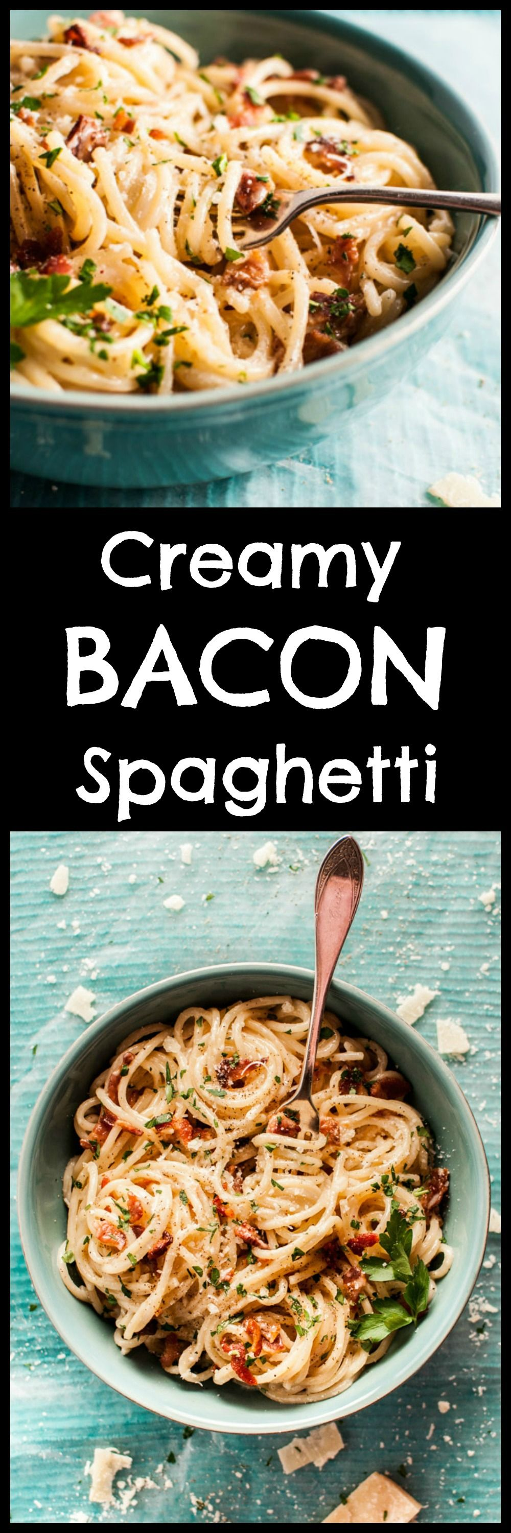Creamy bacon spaghetti is decadent and delicious, and it's ready in only 30 minutes! Treat yourself. Pin for later :)