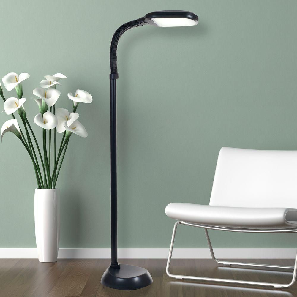 Lavish Home 60 In Black Led Sunlight Floor Lamp With Dimmer Switch 72 1515 The Home Depot Black Floor Lamp Adjustable Floor Lamp Silver Floor Lamp