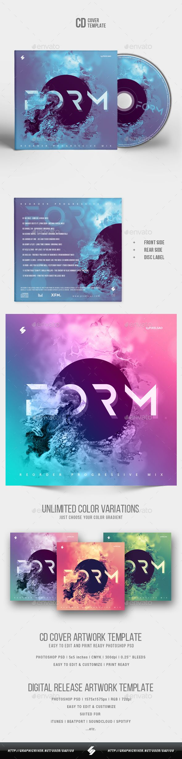 form abstract cd cover artwork template cd dvd artwork