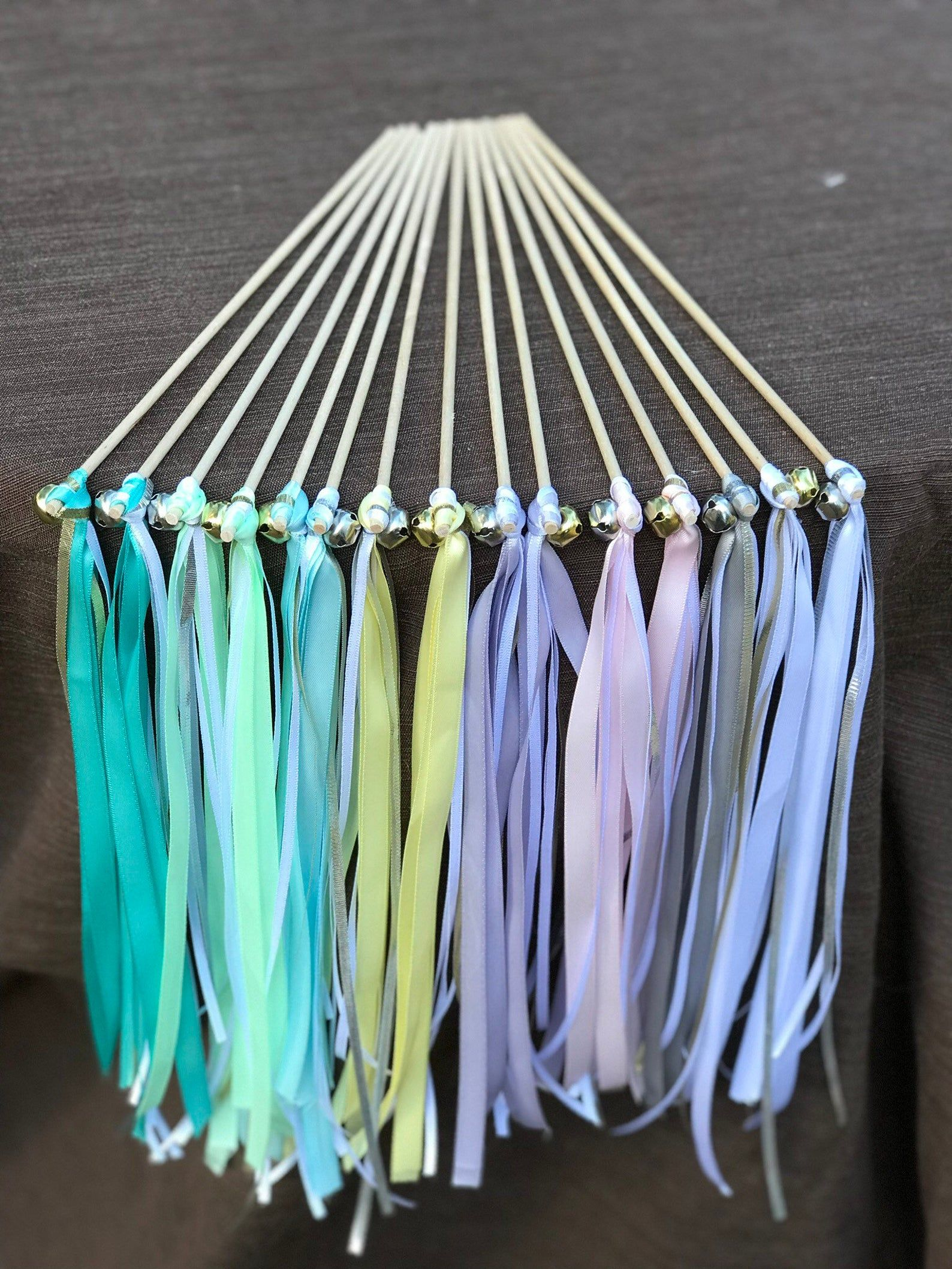 50 Customized Wedding Send Off Streamer Wands With Bells