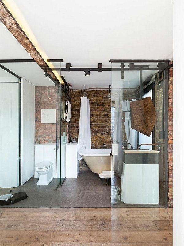 salle de bains mur de briques de verre industriel moderne coulissant