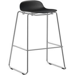 Photo of Normann Copenhagen shape bar stool sled base chrome H 65cm plastic black Normann Copenhagen