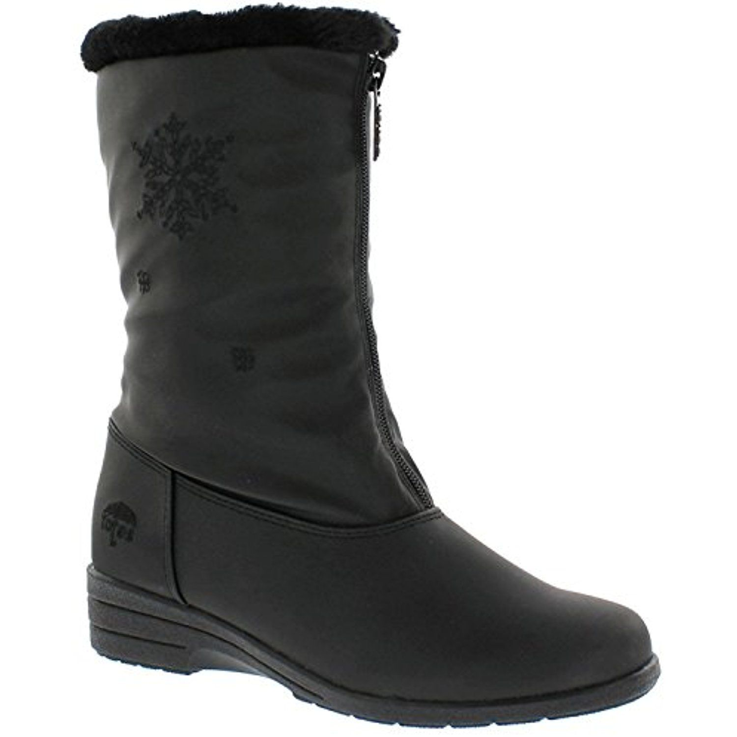 5df7d70194b9f Women's Nicole Black Snow Boot | Waterproof Mid Calf Soft Sole Front Zipper  Closure Boot Size - 11 US W * Check out this great product.