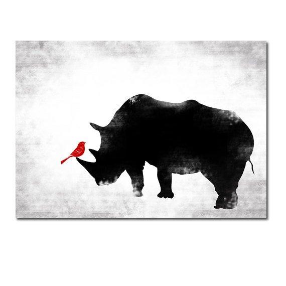 Black & White Rhino and Red bird - Kids Art Prints