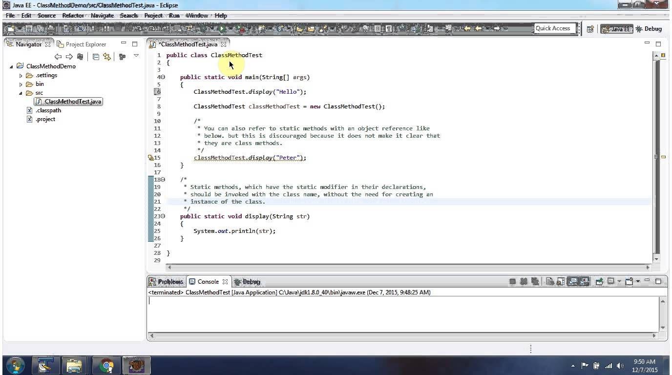 Java tutorial java class methods or static methods
