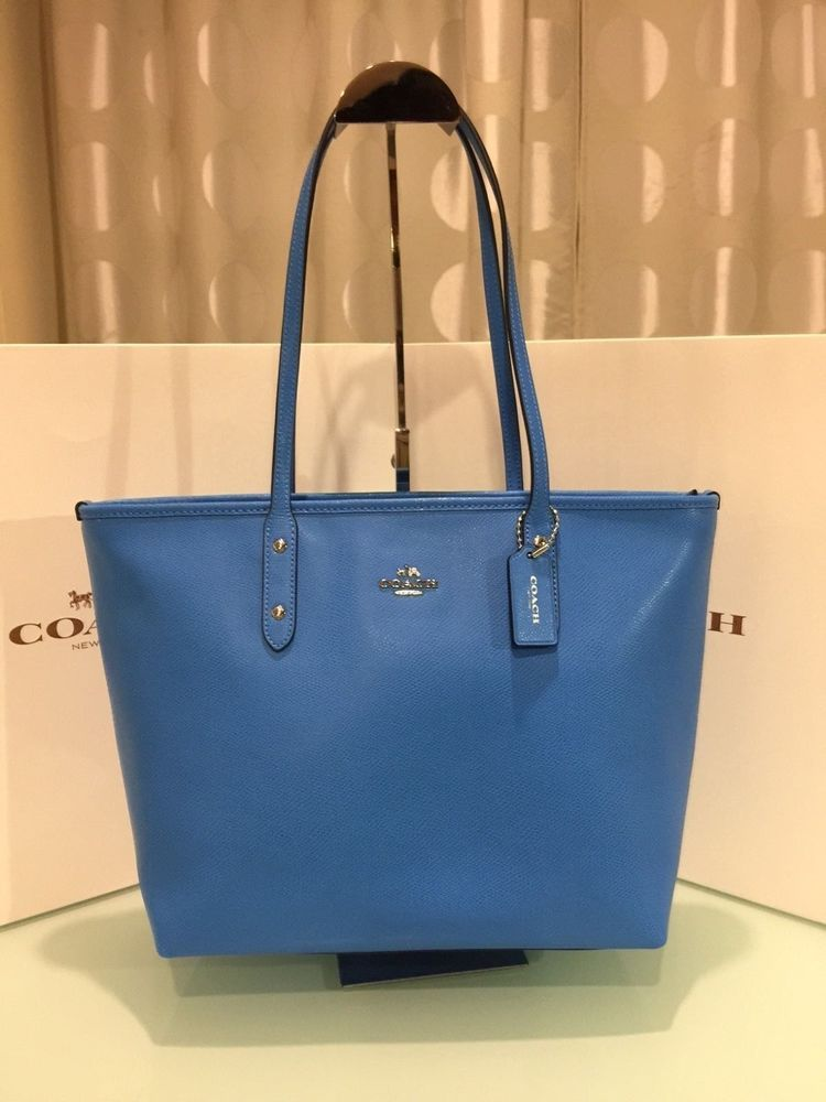 a5504f007332 Coach Large Zip Top City Tote Shoulder Bag Crossgrain Leather Azure Blue   Coach  TotesShoppers