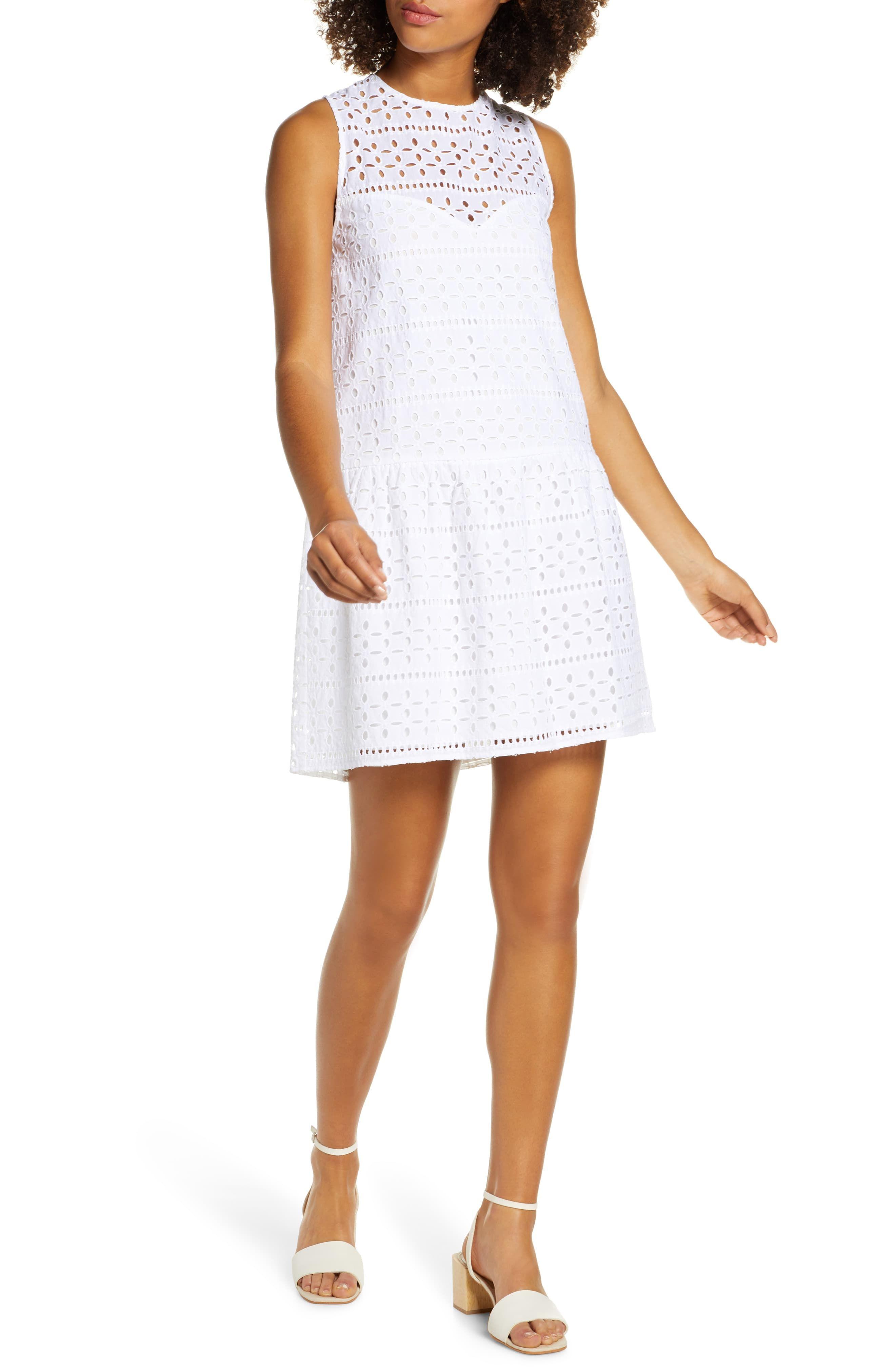 Charles Henry Drop Waist Cotton Eyelet Shift Dress Regular Petite Shift Dress Fashion Clothes Women Women S Fashion Dresses [ 4048 x 2640 Pixel ]