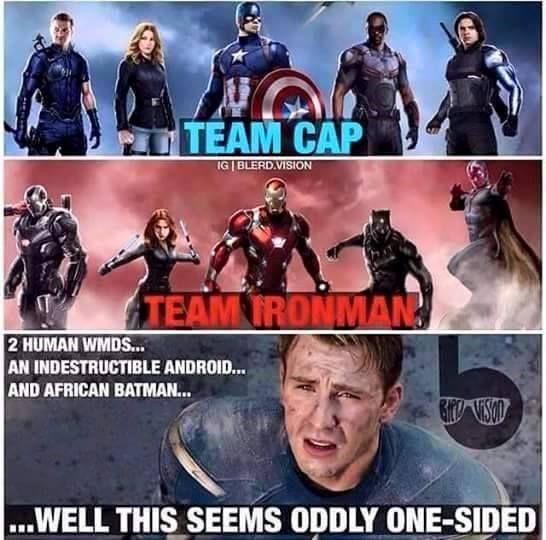 Team Cap vs. Team Iron Man | Captain america meme, Team ...