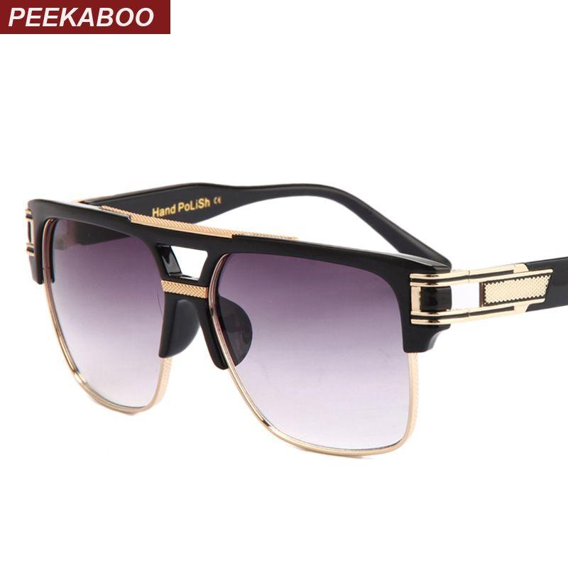 acheter Coucou Top qualité hommes lunettes de soleil 2018 marque design  grand carré semi sans monture lunettes de soleil hommes de luxe unisexe UV  occhiali ... 73da712ccdbc