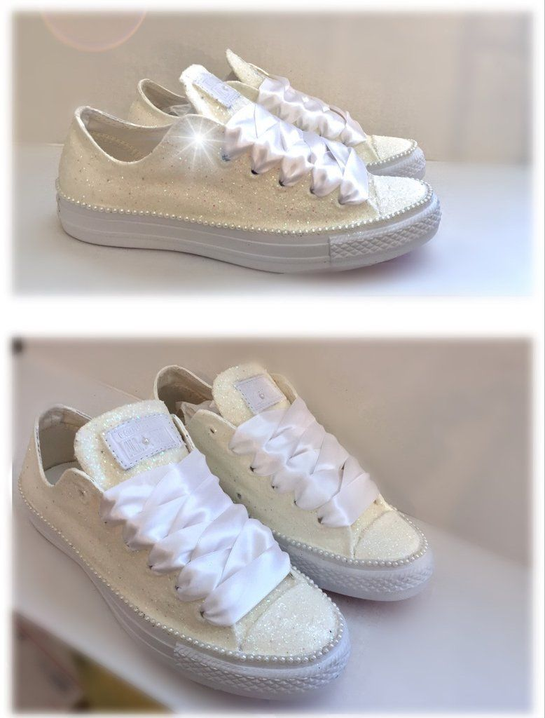 7bf222b321ba Sparkly White or Ivory Glitter Mono Converse All Stars pearls Bride  Bridesmaid Wedding - Glitter Shoe Co