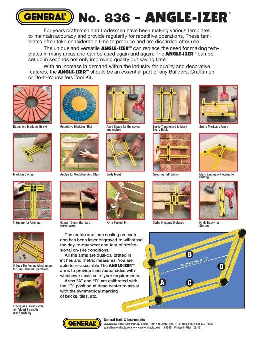 General Tools 836 Angle Izer Template Tool Angle Izer Instant