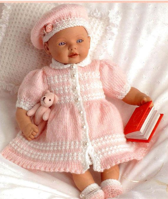 Doll Or Prem Baby Knitting Pattern Beret Dress Coat Bootees Camisole Bloomers And Cushion 8 10 12 In Doll Baby Doll Clothes Patterns Baby Knitting Patterns Knitting Dolls Clothes