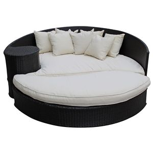 Taiji Outdoor Wicker Patio Daybed With Ottoman In Espresso With White Cushions 645 Exp Whi By Lexmod Outdoor Daybed Daybed Sets Rattan Daybed
