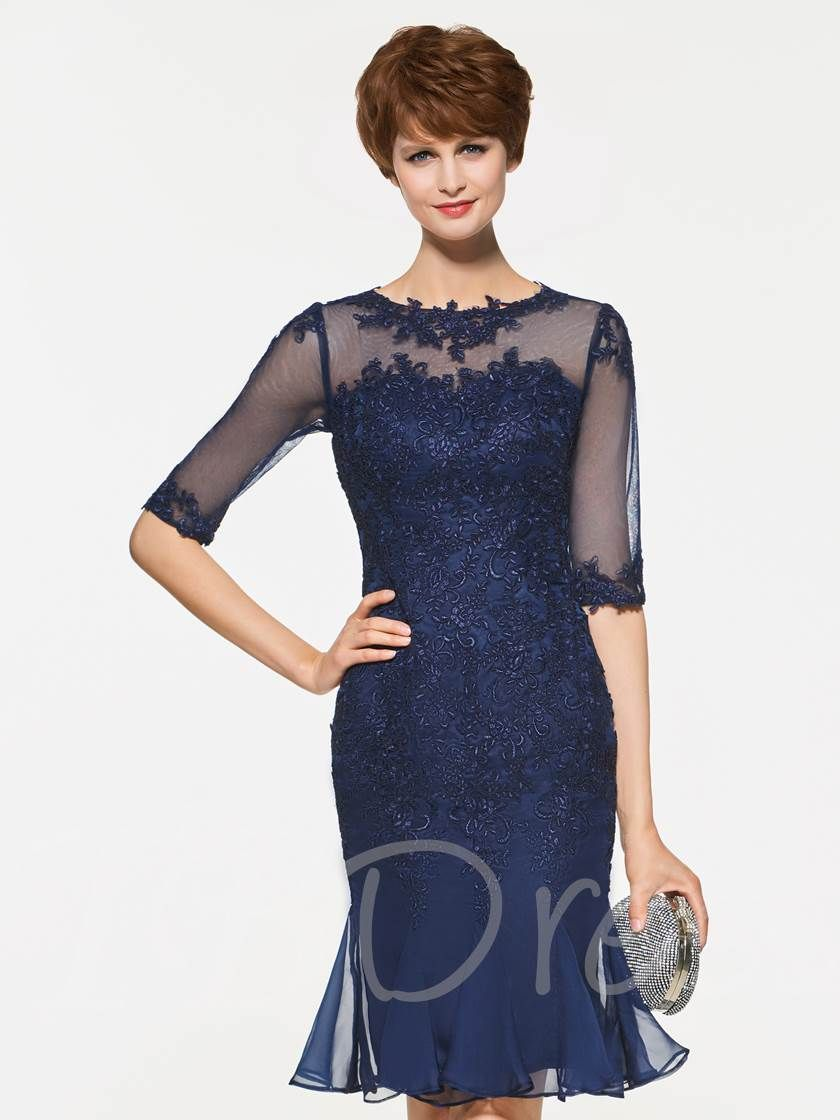 Mother wear for wedding  Appliques Half Sleeve Sheath Mother Of The Bride Dress  Wedding