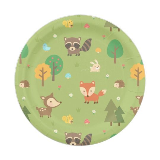 Cute Woodland Animal Pattern Baby Shower Party Paper Plate  sc 1 st  Pinterest & Cute Woodland Animal Pattern Baby Shower Party Paper Plate ...