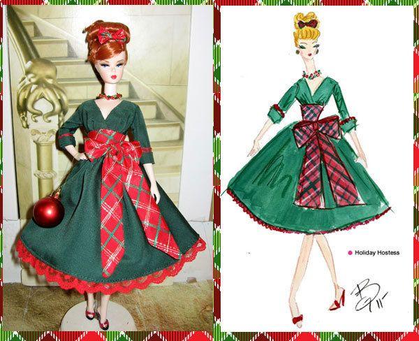 Retro Vintage Style OOAK Silktone Barbie Holiday Hostess Christmas