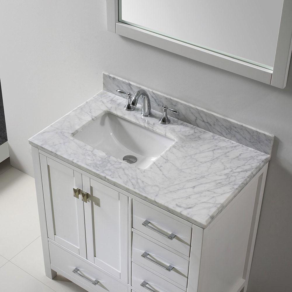 Virtu Usa Caroline Avenue 36 Inch Italian Carrara White Marble