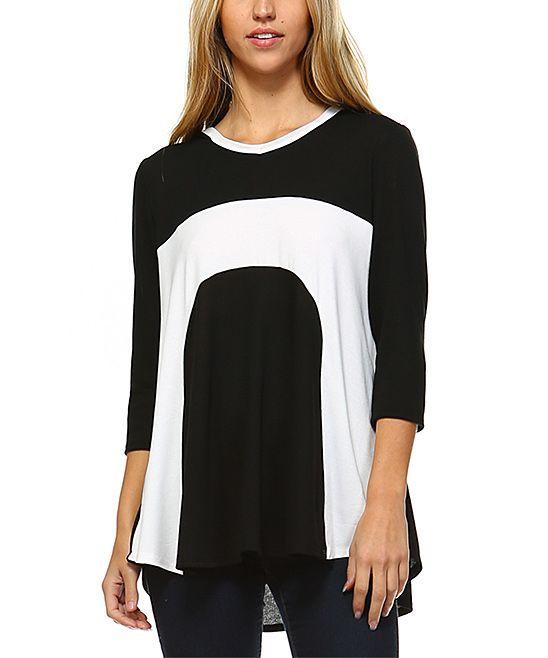Black & Off White Color Block High-Low Hoodie Top