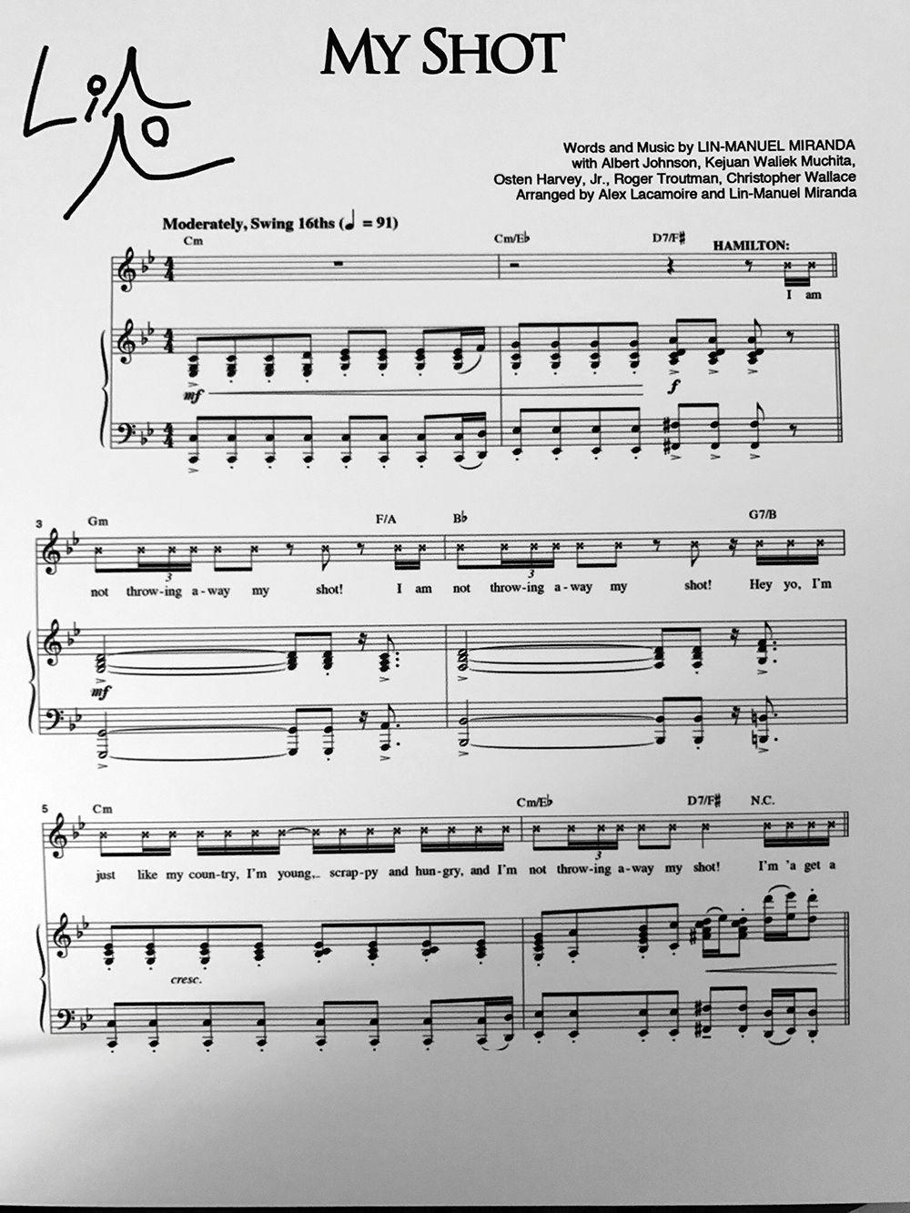 Hamilton Sheet Music Signed By Lin Manuel Miranda Hamilton Sheet