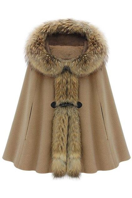 Hooded Cape-style Light-tan Coat | victoriaswing