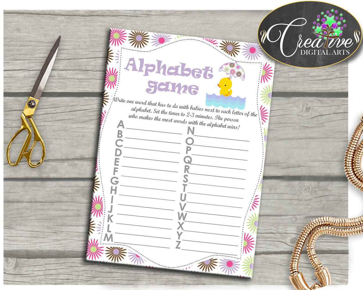 Yellow Pink Alphabet Baby Shower Girl Game Rubber Ducky A
