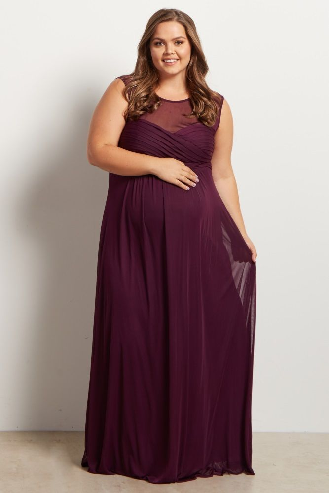 12813b888be14 Plum Mesh Neckline Ruched Bust Plus Size Evening Gown yes, it's maternity,  no I give zero fucks, it's gorgeous!