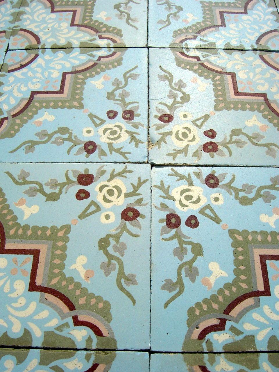 175m2 190 sqft floral themed antique ceramic encaustic floor c1905 the antique floor company - Antique Floor Tiles