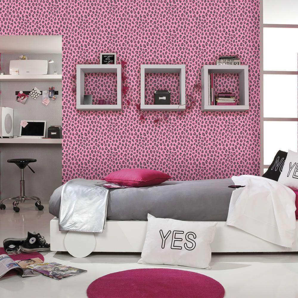 leopard print wallpaper animal girls bedroom pink black salon