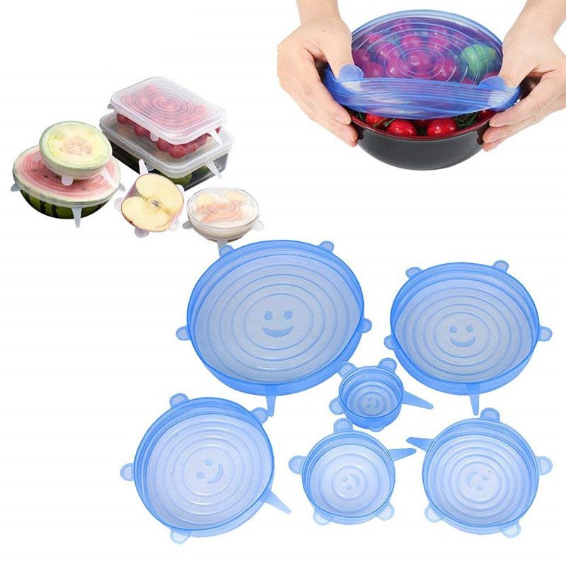 6PCS Multifunctional Fruit And Vegetable Cling Film Silicone Bowl Lid