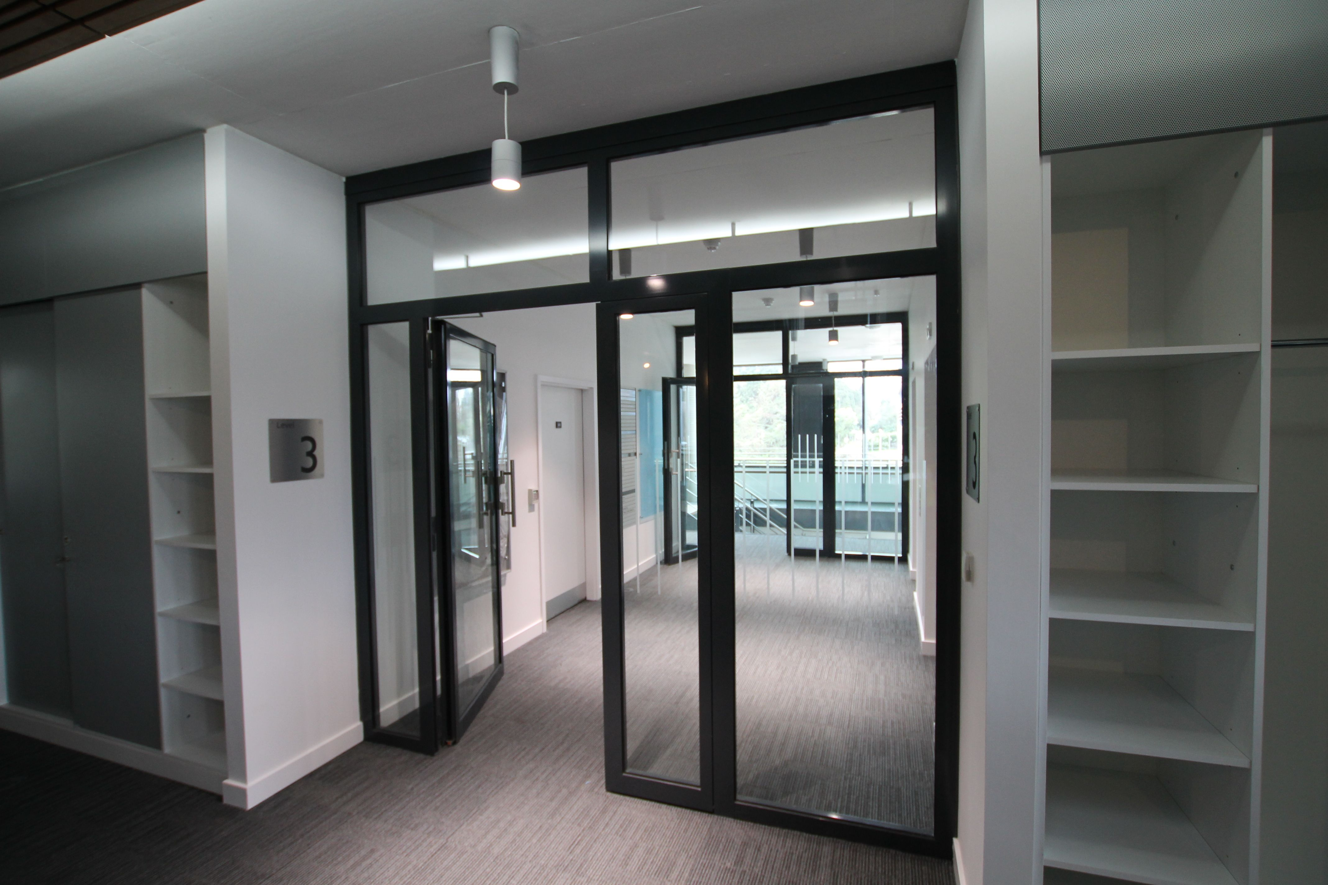 Fire rated glass doors with automated hold open device ...