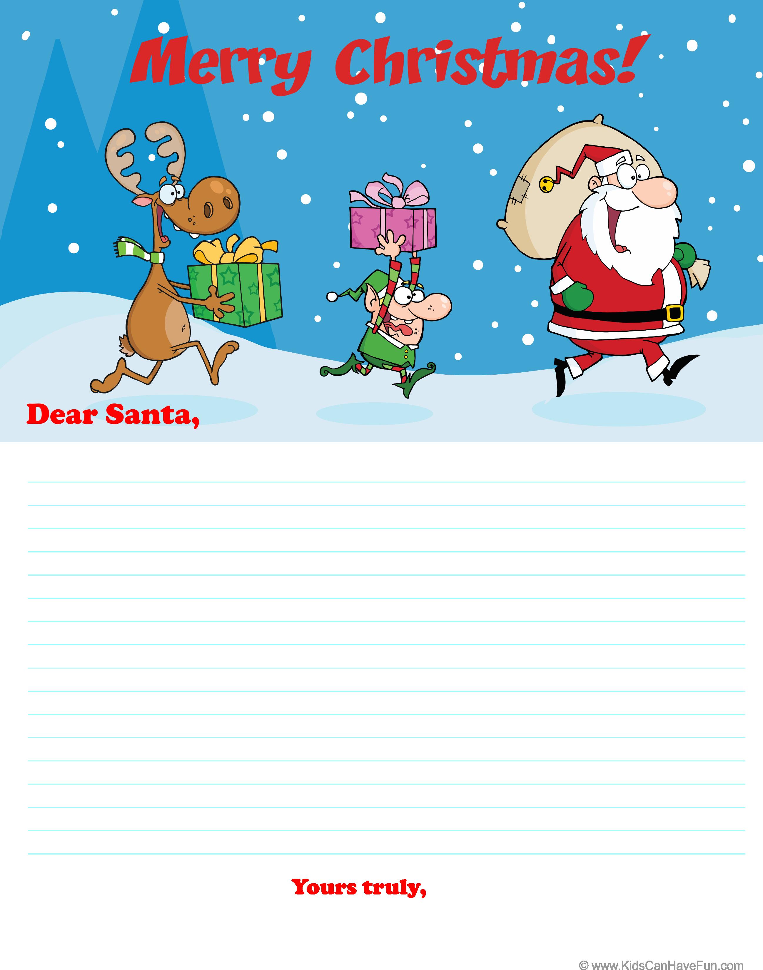 Dear Santa Letter With Reindeer