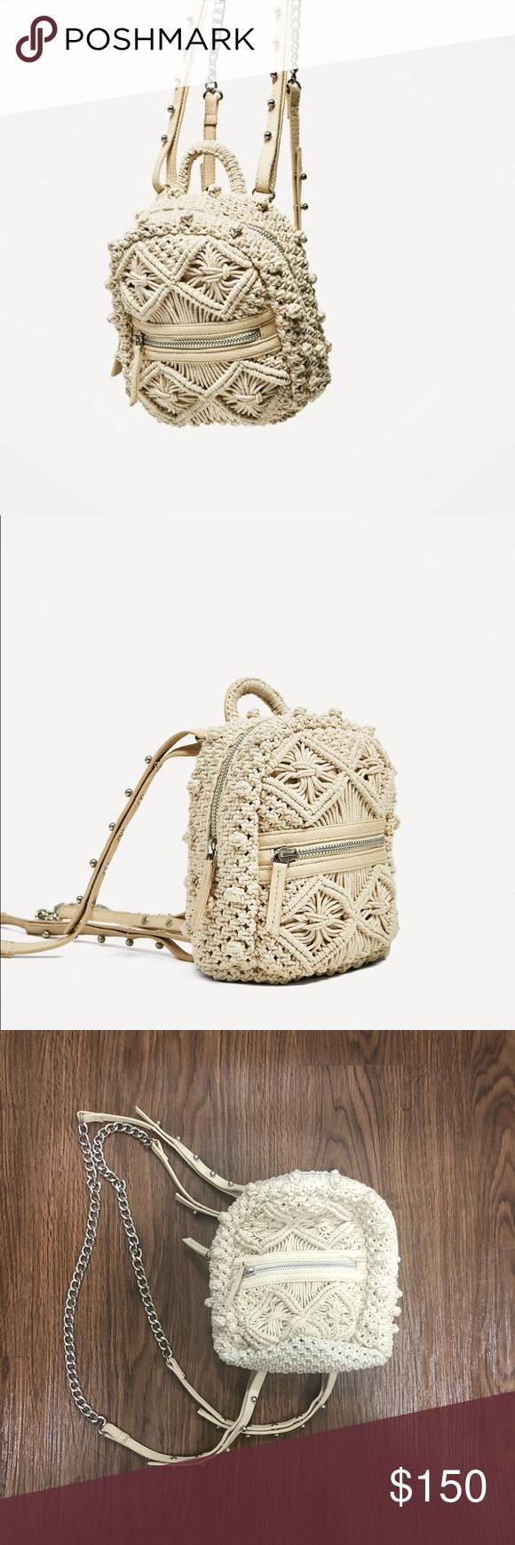 e683506103 Zara Macrame mini backpack Used