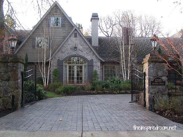 love the stone and trim colors!!!    charming new house