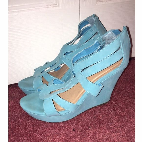 Turquoise blue wedges Women's turquoise blue wedges. Size 10.  5 inch heel. Shoes Wedges