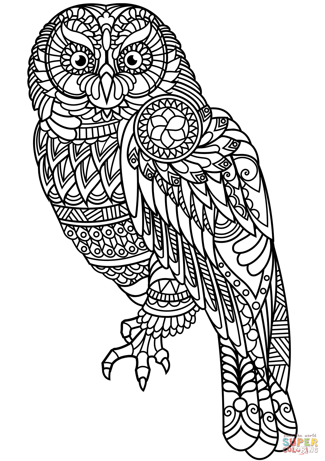 shelly beauchamp zen tangles coloring pages | Owl Zentangle coloring page from Zentangle category ...