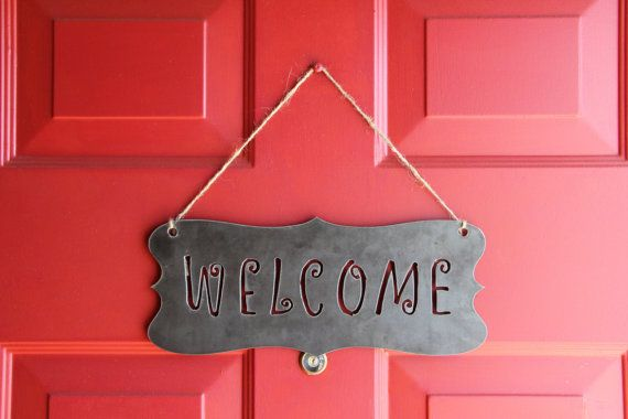 Metal Welcome Sign for your front door or patio area! Metal art by ...